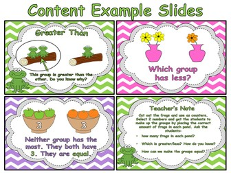 Comparing Numbers - Counting and Cardinality (PowerPoint and worksheets)