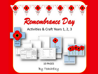 Remembrance Day Activities Years 1, 2, 3