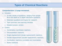 Types Of Chemical Reactions Worksheet By Goodscienceworksheets