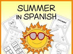 Spanish Summer Vocabulary Sheets, Worksheets, Matching & Bingo Games