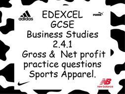 EDEXCEL GCSE Business Studies 2.4.1 Gross and Net profit
