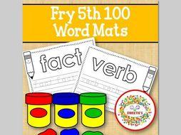 Sight Word Mats:  Fry 5th 100 Word Mats – B/W