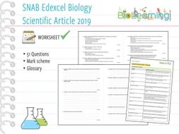 SNAB Biology - Scientific Article 2019 - Suggested Questions, Mark Scheme and Glossary