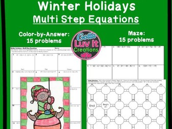 Solving Equations Multi Step Equations Winter Bundle - Maze & Color by Number