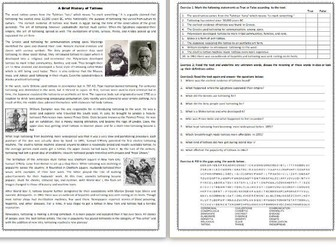 A Brief History of Tattoos  - Reading Comprehension Worksheet / Informational Text