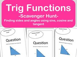 Trig Functions Scavenger Hunt - Finding Side Lengths and Angles  (CCSS HSF TF B 7