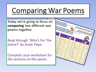War Poetry Comparing Poems