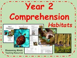 Year 2 Reading Comprehension - Habitats - Science