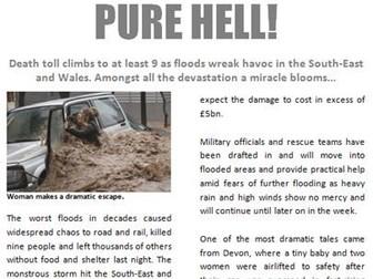 Flood Newspaper Report with comprehension KS2