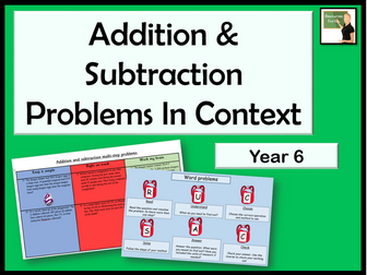 Maths Solving addition and subtraction multi-step problems in contexts lesson Year 6