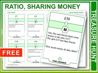 Ratio, Sharing Money (Treasure Hunt)