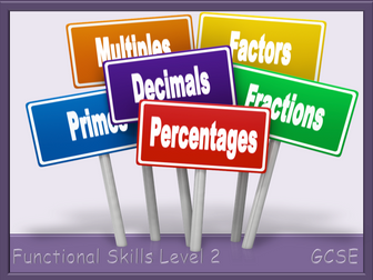 Factors, Multiples, Primes and Fraction, Decimal, Percentage Worksheets - Functional Skills L2 GCSE