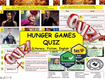 2017 - Hunger Games Quiz (Fiction, Literacy) - 7 rounds & 40+Qs' World Book Day. End of term Quiz