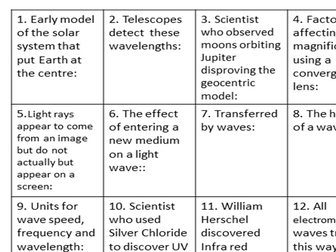 P1 Physics Revision Flip cards Differentiation Extension activity