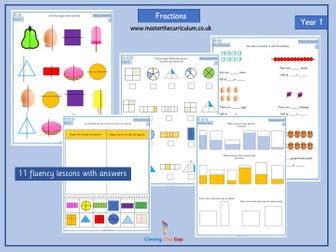 Year 1 Differentiated Fraction Worksheets
