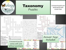 Taxonomy Crossword and Word Search