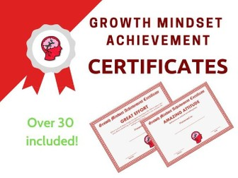 Growth Mindset Achievement Certificates Red Edition