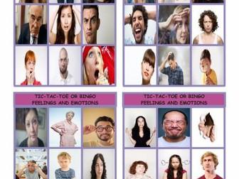 Feelings and Emotions Tic-Tac-Toe or Bingo