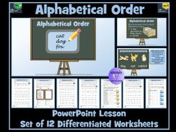 Alphabetical Order : PowerPoint Lesson and Worksheets