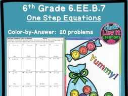 Solving Equations One Step Equations No Negatives - Color by Number