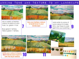 KS3 - Drawing and painting a landscape using perspective.
