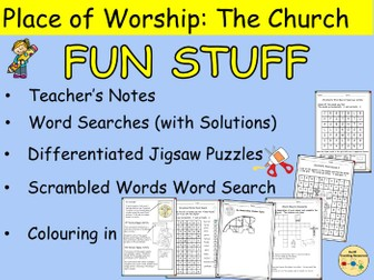 Church Features Word Searches Scrambled Words Crosswords Jigsaw Puzzles Colouring In