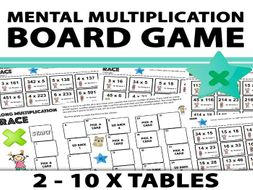 Mental Multiplication Board Game - Times Tables 2 - 10