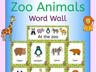 Zoo animals word wall for a zoo topic or EFL ESL EAL