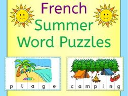 French Summer Word Puzzles