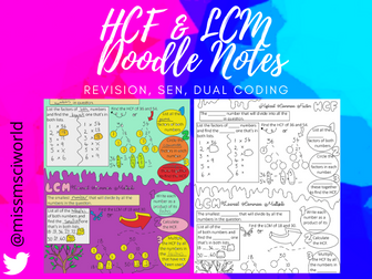 HCF & LCM Maths Doodle Notes