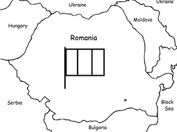 ROMANIA - Basic Geography handout with map and flag