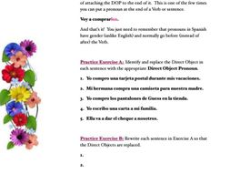 Direct Object Pronouns Worksheet (for Spanish)