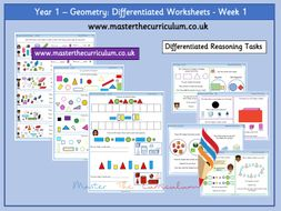 Year 1- Geometry- Shape Differentiated Worksheets- White Rose Style Block 3