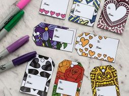 DIY Printable Coloring Gift Tags | Set of 8 gift tags for a Mother's Day or Valentine's Day  gift