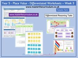 Year 5- Autumn Term- Block 1- Week 3- Place Value Differentiated Worksheets- White Rose Style