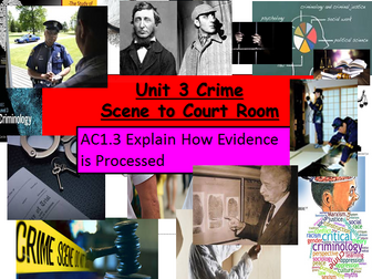 Criminology Level 3(New Spec)Unit 3 Crime Scene to Court Room AC1.3Explain How Evidence is Processed
