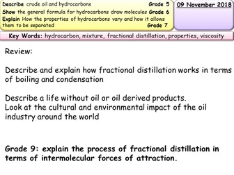 Crude oil and fractional distillation entire lesson & resources AQA Trilogy/Chemistry