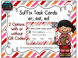 Suffix Task Cards: er, est, ed