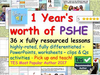 PSHE: 1 YEAR'S PSHE + RSE