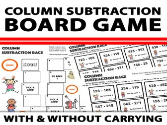 Column Subtraction Board Game Activity With and Without Carrying