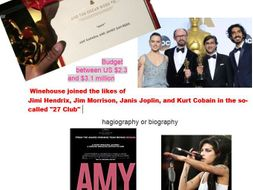 Amy  Film study  booklet and Introduction to documentary PPT