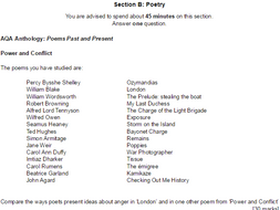 AQA Power & Conflict Poetry Anthology - 15 x practice questions