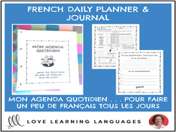 French Daily Planner and Journal - Mon Agenda Quotidien - Full Year Program