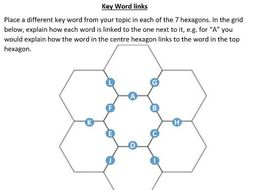 Hexagon key word link activity sheet