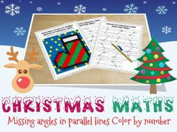 Christmas maths - parallel lines colour by number