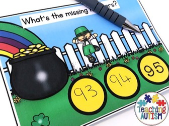 Missing Numbers Task Cards St Patrick's Day