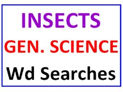 Insects for Kids Word Search Puzzle PLUS General Science Word Search (2 Puzzles)
