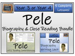 LKS2 Pele  Reading Comprehension & Biography Bundle
