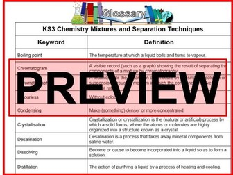 KS3 Science Glossary Chemistry Mixtures and Seperation Techniques (Blank & Completed)