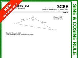 GCSE 9-1 Exam Question Practice (Sine + Cosine Rule)